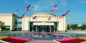 Bush Library and Museum with flags flying